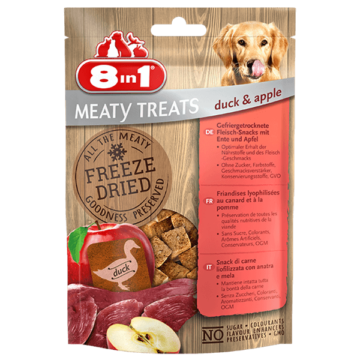8in1 Meaty Treats fagyasztva szárított almás kacsa 50g