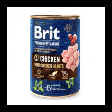 Brit Premium by Nature Adult Chicken with Chicken Hearts konzerv 800g