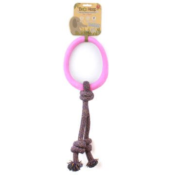 Beco Pets - Méreganyagmentes rózsaszín karika pamut kötélen