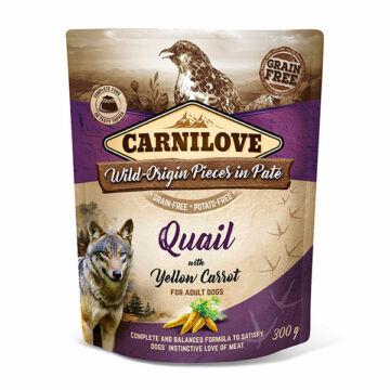 Carnilove Dog Adult tasakos Paté - fürj sárgarépával 300g