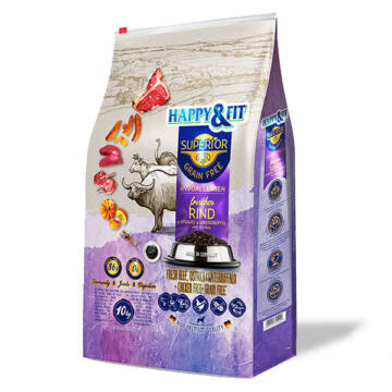 Happy&Fit Superior Grain Free Hipoallergén (marha, strucc, vízibivaly, sütőtök) 10 kg