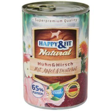 Happy&Fit Natural felnőtt, csirke, szarvas, alma 400g