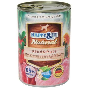 Happy&Fit Natural felnőtt, marha, pulyka, vörösáfonya 400g