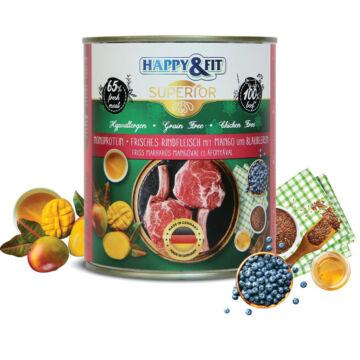 Happy&Fit Superior 100% Monoprotein - Friss marhahús mangóval és áfonyával 400g