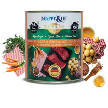 Happy&Fit Superior 100% Monoprotein – Friss vaddisznóhús sárgarépával és burgonyával 400g