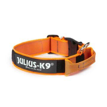 Julius k9 Biztonsági zárral ellátott nyakörv fogantyúval és cserélhető felirattal 40mm/38-53 Narancs-Szürke
