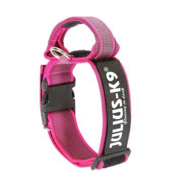 Julius k9 Biztonsági zárral ellátott nyakörv fogantyúval és cserélhető felirattal 40mm/38-53 Pink-Szürke