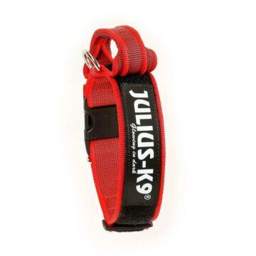 Julius k9 Biztonsági zárral ellátott nyakörv fogantyúval és cserélhető felirattal 40mm/38-53 Piros-Szürke