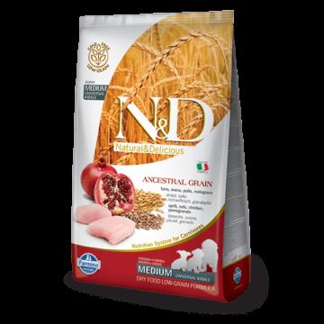 N&D Dog Ancestral Grain csirke, tönköly, zab, gránátalma puppy med&maxi 2,5kg