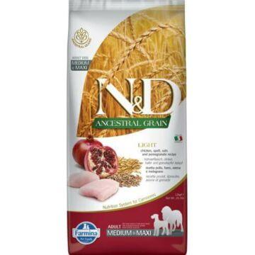 N&D Dog Ancestral Grain csirke, tönköly, zab&gránátalma adult light medium/maxi 12kg