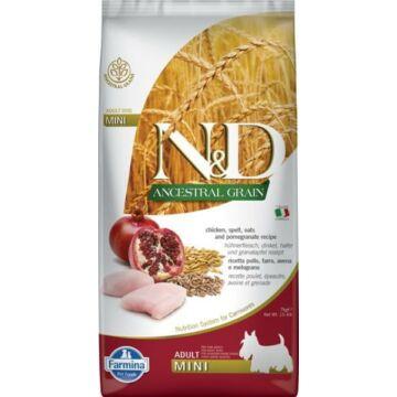 N&D Dog Ancestral Grain csirke, tönköly, zab&gránátalma adult mini 2,5kg