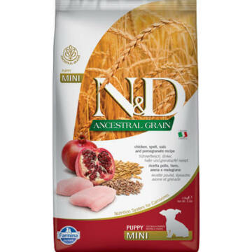 N&D Dog Ancestral Grain csirke,tönköly, zab&gránátalma puppy mini 2,5kg