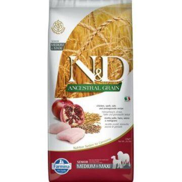 N&D Dog Ancestral Grain csirke, tönköly, zab&gránátalma senior medium&maxi 12kg