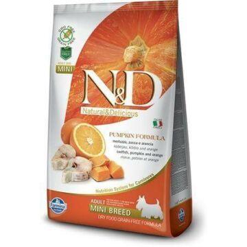 N&D Dog Grain Free tőkehal&narancs sütőtökkel adult mini 800g kutyatáp