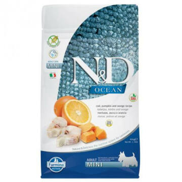 N&D Ocean Dog tőkehal, sütőtök&narancs Adult mini 800g