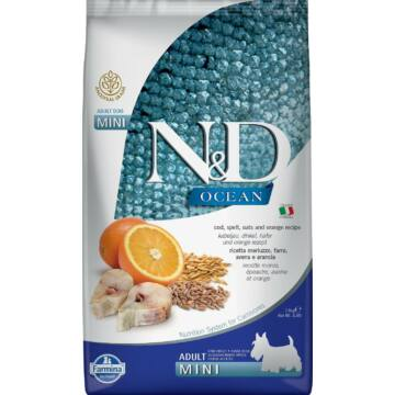 N&D Ocean Dog tőkehal, tönköly, zab&narancs Adult mini 800g