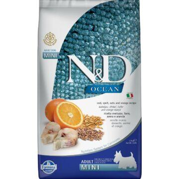 N&D Ocean Dog tőkehal, tönköly, zab&narancs Adult mini 800g