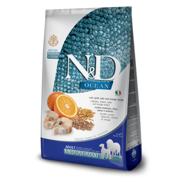 N&D Ocean Low Grain tőkehal&narancs adult medium&maxi 12kg