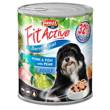 Panzi Fitactive Adult Dog Konzerv sertéssel, hallal és körtével 1240gr