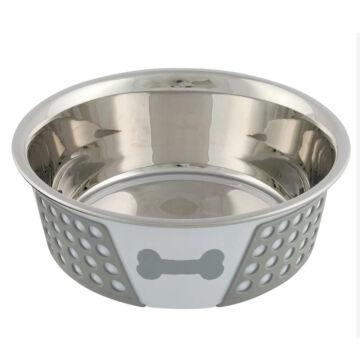 Trixie tál fém szilikon fedéssel 0,4 l / 14 cm fehér/szürke
