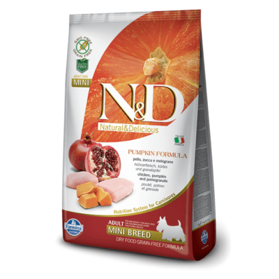 N&D Dog Grain Free csirke&gránátalma sütőtökkel adult mini 2,5kg kutyatáp