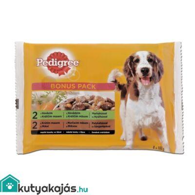 Pedigree Alutasakos 100g 4 Pack Adult Marha+Nyúl,Pulyka+Répa kutyatáp
