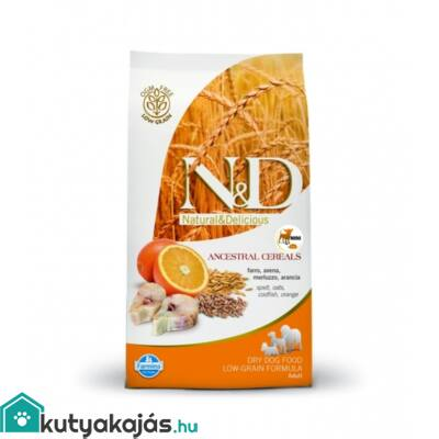 N&D Low Grain Dog Tőkehal&narancs adult mini 800g kutyatáp