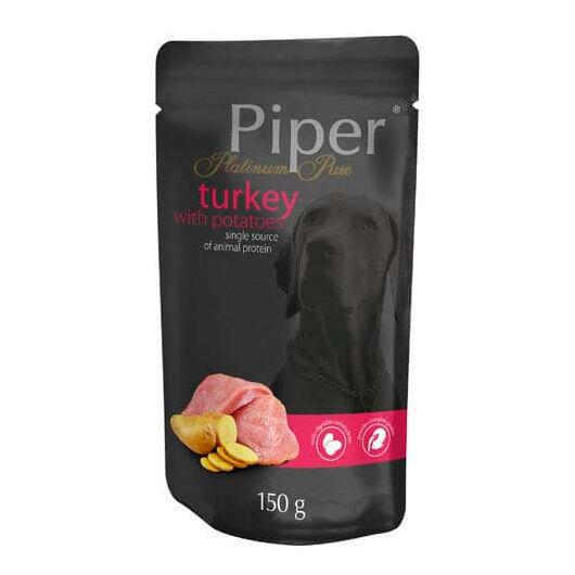PIPER PLATINUM PURE Pulyka és Burgonya alutasak felnőtt kutyáknak