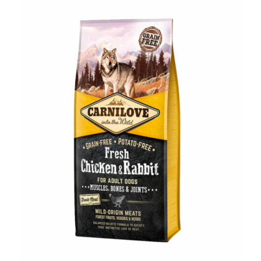 Carnilove Fresh Adult Dog Csirke & Nyúl - Muscles, Bones & Joints 12 kg kutyatáp