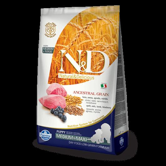 N&D Dog Ancestral Grain Dog Puppy bárány&áfonya medium&maxi 12kg