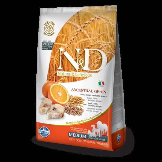 N&D Low Grain Dog Tőkehal&narancs adult medium 2,5kg kutyatáp