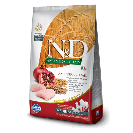 N&D Dog Ancestral Grain csirke,tönköly,zab&gránátalma Adult medium&maxi 12kg