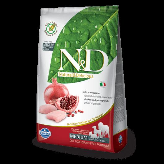 N&D Grain Free csirke&gránátalma adult medium 2,5kg kutyatáp