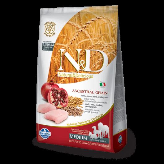 N&D Low Grain Dog Csirke&gránátalma adult medium 2,5kg kutyatáp