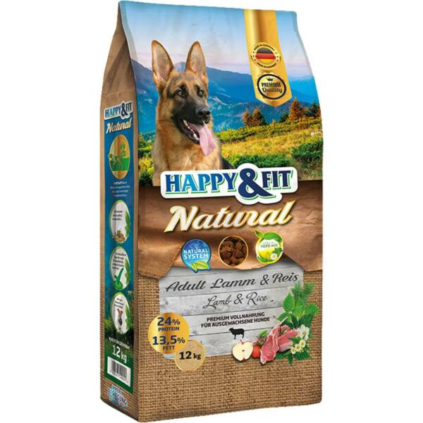 Happy&Fit Natural Adult Rind&Reis XL 12kg kutyatáp