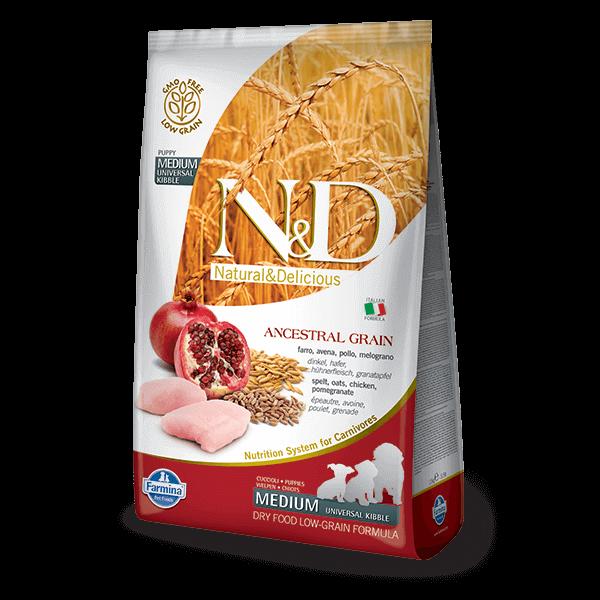 N&D Low Grain Dog Csirke&gránátalma puppy medium 12kg kutyatáp