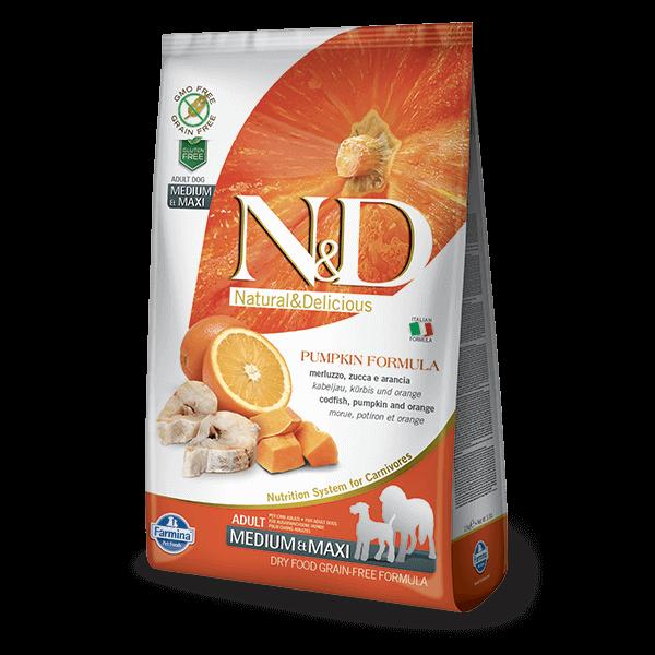 N&D Dog Grain Free tőkehal&narancs sütőtökkel adult medium/maxi 2,5kg kutyatáp
