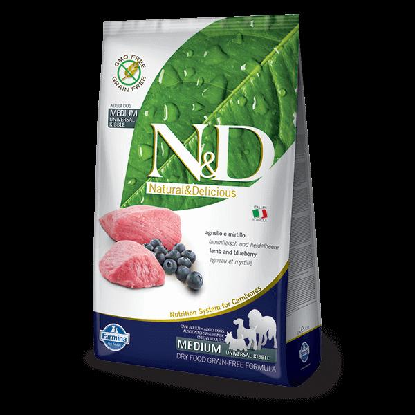 N&D Grain Free bárány&áfonya adult medium 12kg kutyatáp