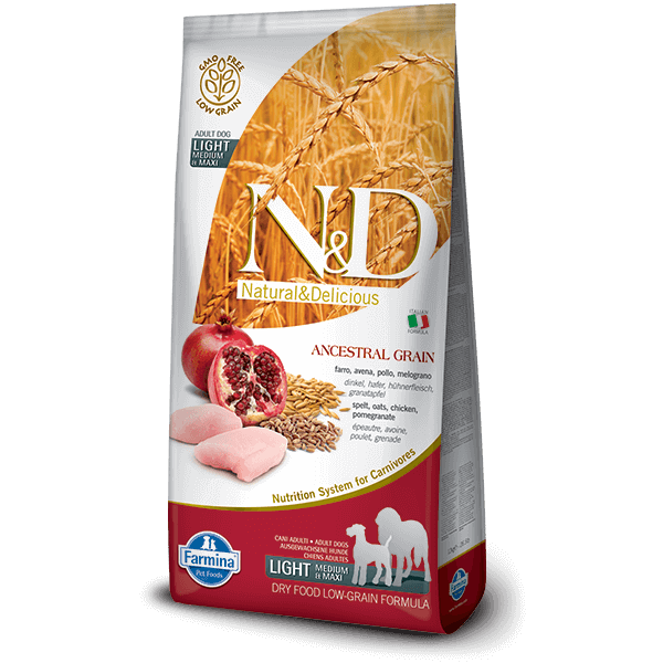N&D Low Grain Dog Csirke&gránátalma light medium/maxi 12kg kutyatáp