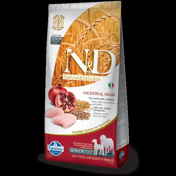 N&D Low Grain Dog Csirke&gránátalma senior medium/maxi 2x 12kg kutyatáp