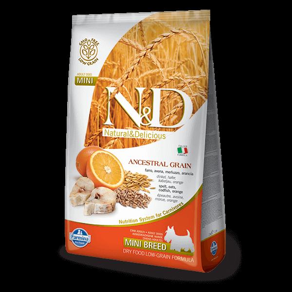 N&D Low Grain Dog Tőkehal&narancs adult mini 800g kutyatáp