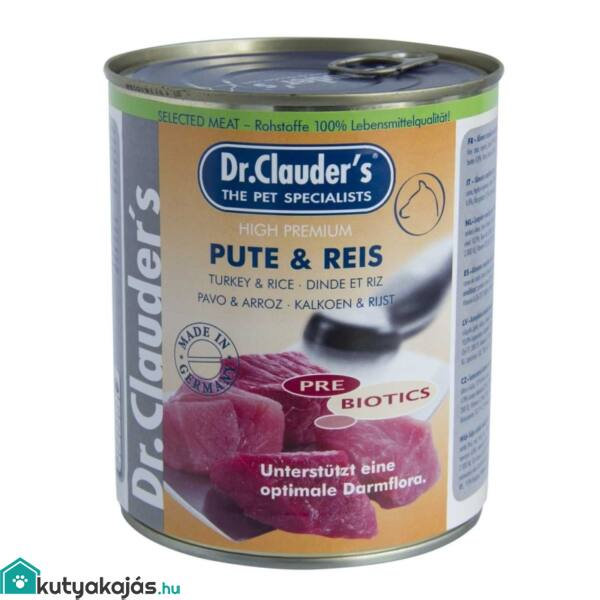 Dr.Clauders Dog Konzerv Selected Meat Pulyka&rizs 800g